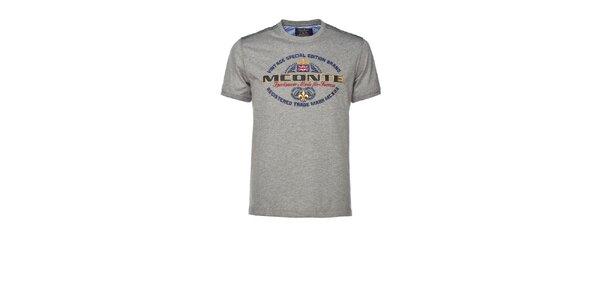 Pánské šedé triko s výšivkou M. Conte
