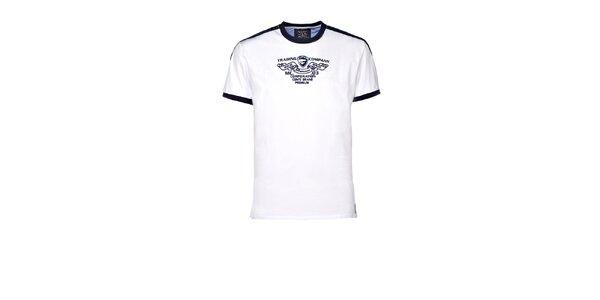 Pánské bílé tričko s kontrastními lemy M. Conte