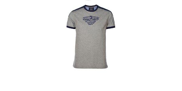 Pánské šedé tričko s kontrastními lemy M. Conte