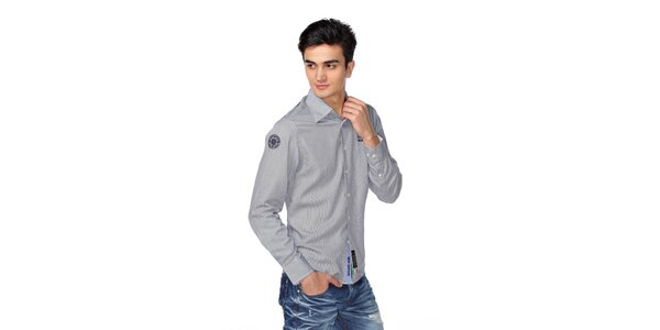 Pánská šedá košile s proužky a nášivkami M. Conte