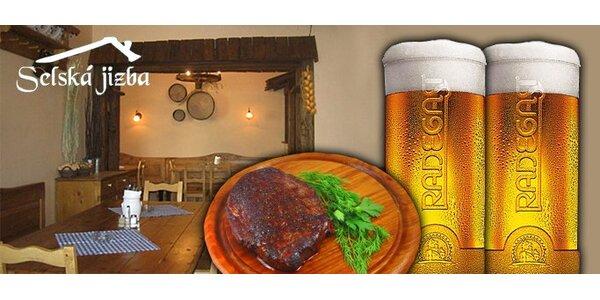 280 Kč za Chalupářský steak a velké pivo Radegast pro DVA se slevou 41%.