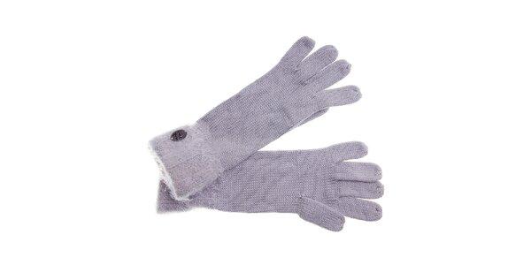 Dámské světle šedé rukavice Pietro Filipi s chlupatým lemem