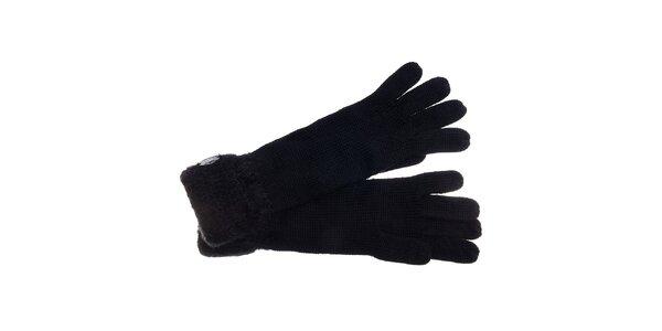 Dámské černé rukavice Pietro Filipi s chlupatým lemem