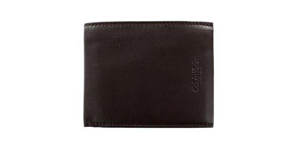 Pánská čtvercová hnědá peněženka z kůže Calvin Klein