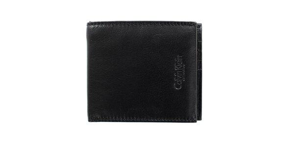 Pánská čtvercová černá hladká peněženka z kůže Calvin Klein