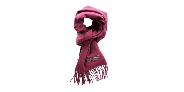 Tmavě růžová šála Moschino s třásněmi