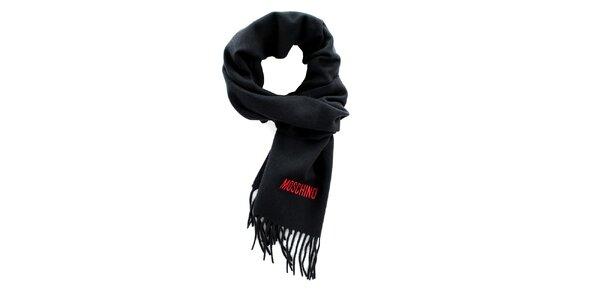 Černá šála s třásněmi Moschino