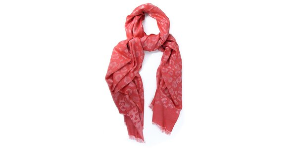 Dámský červenorůžový šátek s potiskem Belle & Bloom