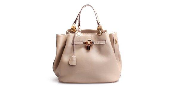 Dámská béžová kožená kabelka se zámečkem Belle & Bloom