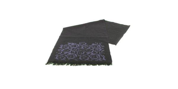 Dámský tmavě fialový vlněný šál Guess