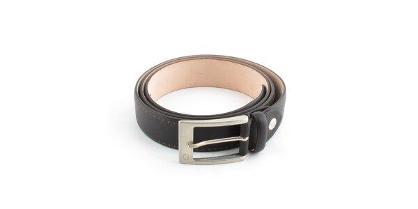 Pánský tmavě hnědý kožený pásek Guess