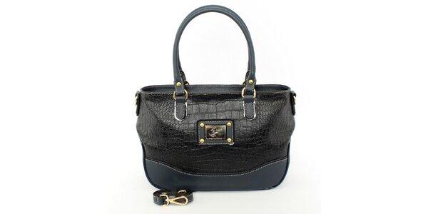 Dámská černo-modrá kabelka s odnímatelným popruhem Beverly Hills Polo Club