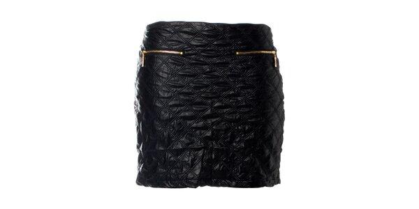 Dámská černá prošívaná minisukně Kzell se zlatými zipy