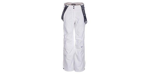 Dámské bílé lyžařské kalhoty Loap s kšandami