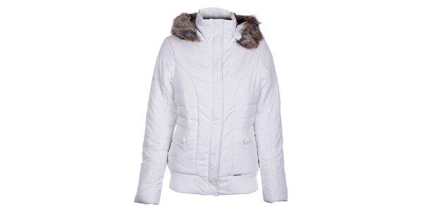 Dámská bílá zimní bunda Loap s kožíškem