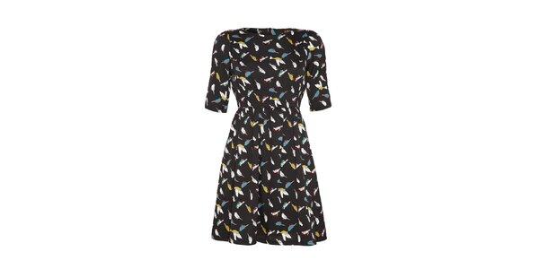 Dámské černé šaty s barevným pírkovým vzorkem Yumi
