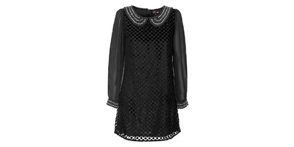 Dámské černé šaty Yumi s perlovým límečkem