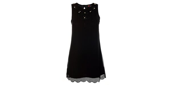 Dámské černé šaty Yumi s perlovou aplikací