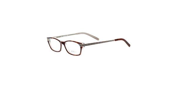 Dámské hnědě žíhané hranaté brýle Replay