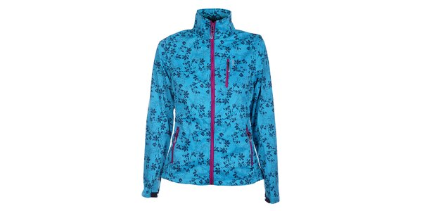 Dámská azurově modrá softshellová bunda Loap s potiskem