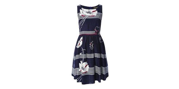Dámské modro-bílé šaty s vlčími máky Fever