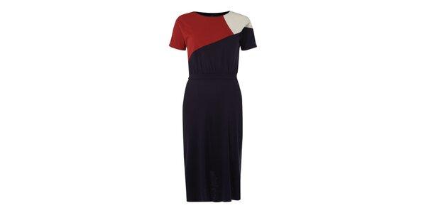 Dámské tmavě modré šaty s červeno-bílým vrškem Fever