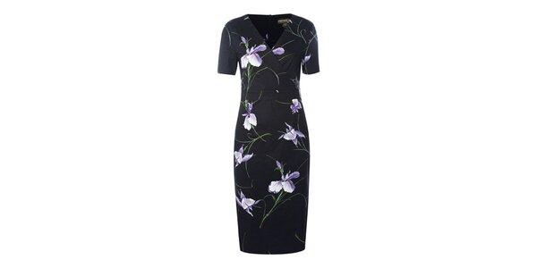 Dámské černé pouzdrové šaty Fever s květy