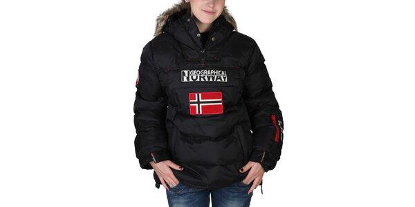 Dámská černá bunda s kapucí s kožíškem Geographical Norway