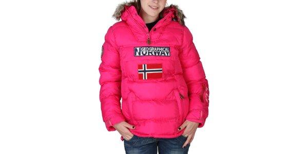 Dámská růžová bunda s kapucí s kožíškem Geographical Norway