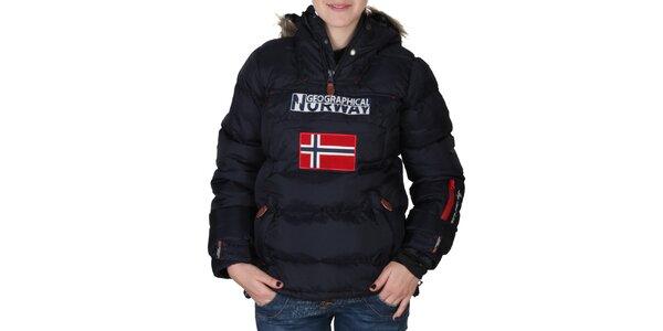 Dámská tmavě modrá bunda s kapucí s kožíškem Geographical Norway