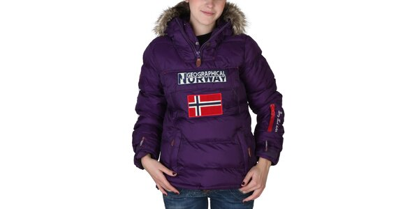 Dámská fialová bunda s kapucí s kožíškem Geographical Norway