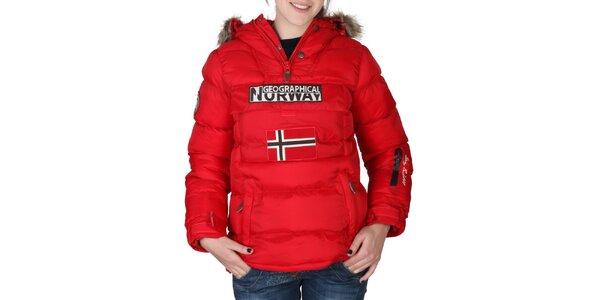 Dámská červená bunda s kapucí s kožíškem Geographical Norway