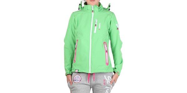 Dámská zelená bunda s barevnými zipy Geographical Norway
