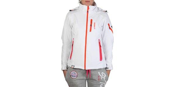 Dámská bílá bunda s barevnými zipy Geographical Norway