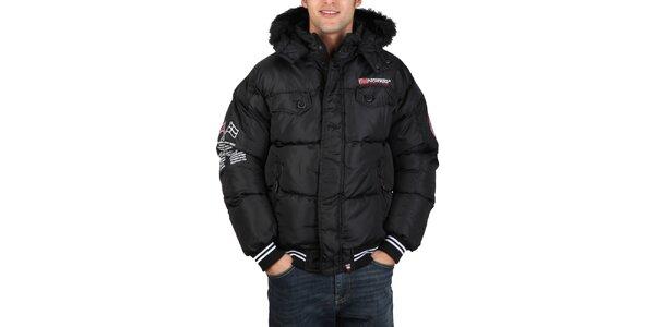 Pánská černá bunda s kapucí Geographical Norway