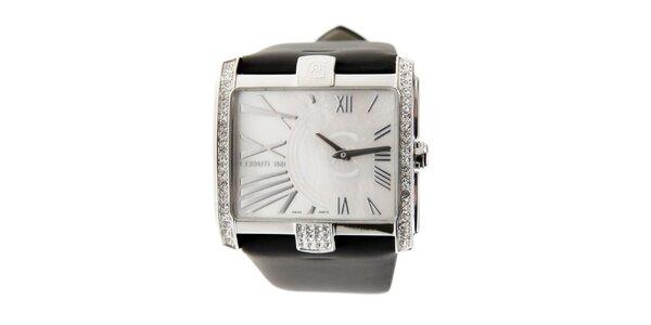 Dámské hodinky Cerruti 1881 s černým páskem a krystaly