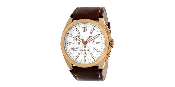 Pánské ocelové hodinky s hnědým koženým řemínkem Esprit