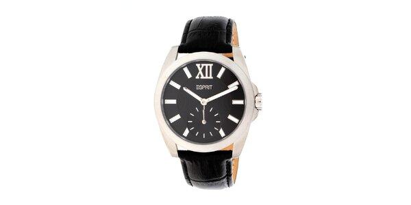 Dámské stříbrné hodinky s černým řemínkem Esprit