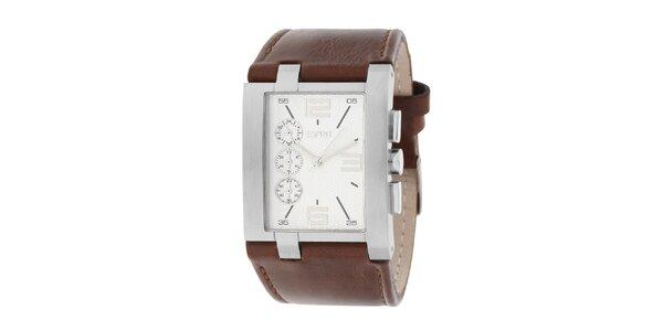 Pánské ocelové hranaté hodinky s koženým hnědým řemínkem Esprit