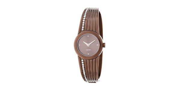 Dámské hnědé kulaté náramkové hodinky Esprit