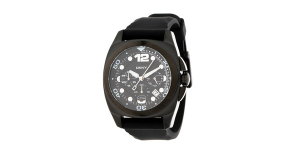 Pánské tmavé hodinky s chronografem DKNY