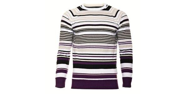 Pánský světle fialový proužkovaný svetr Timeout