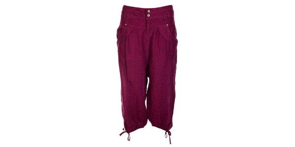Dámské purpurové lněné kalhoty Timeout