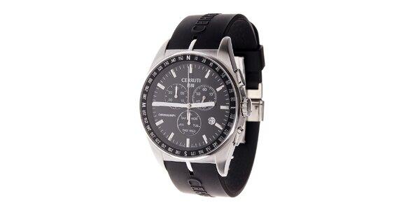 Dámské ocelové hodinky Cerruti 1881 s černým silikonovým řemínkem