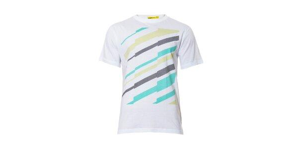 Bílé pánské tričko s barevným potiskem značky Humdrum