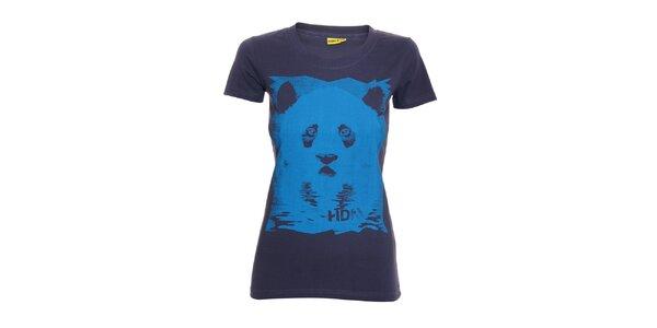 Dámské tričko s potiskem značky Humdrum ve fialové barvě