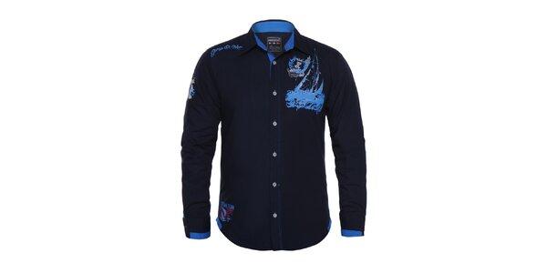 Pánská tmavě modrá košile s potiskem Giorgio di Mare
