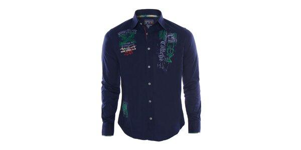 Pánská modrá košile s výšivkami Giorgio Di Mare