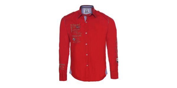 Pánská červená košile s výšivkami Giorgio Di Mare