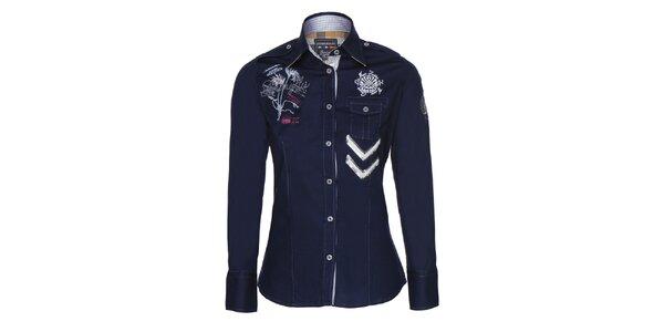 Dámská modrá košile s výšivkami Giorgio Di Mare